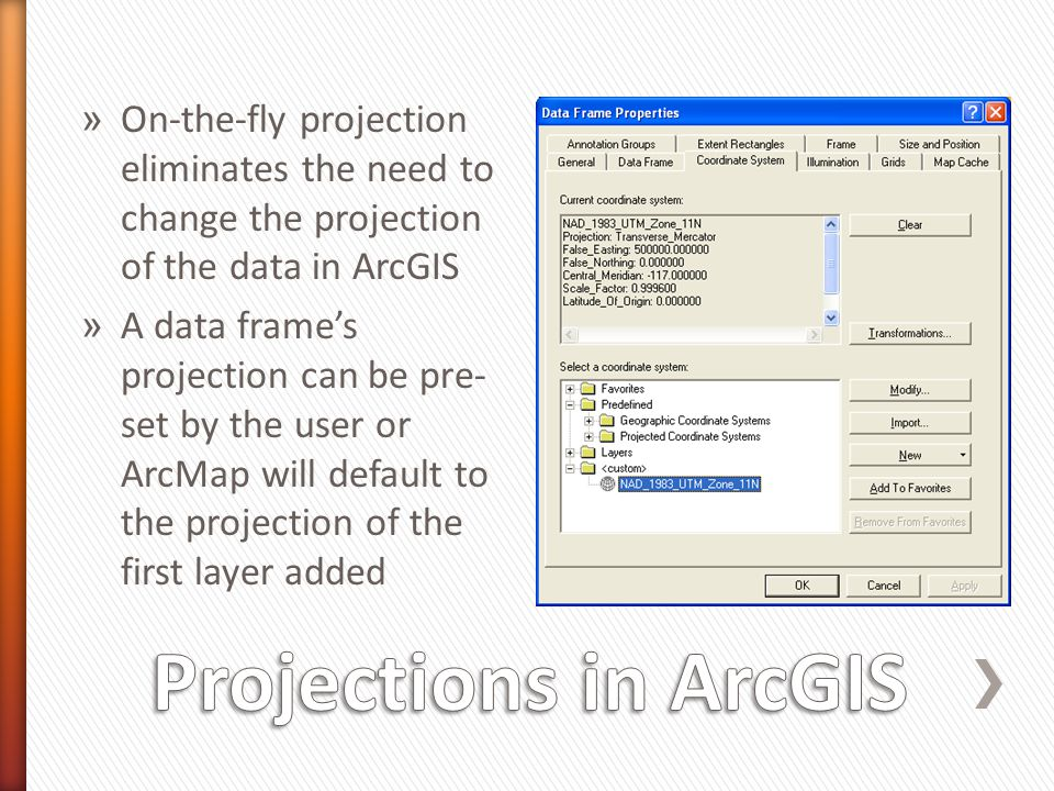 On-the-fly projection eliminates the need to change the projection of the data in ArcGIS