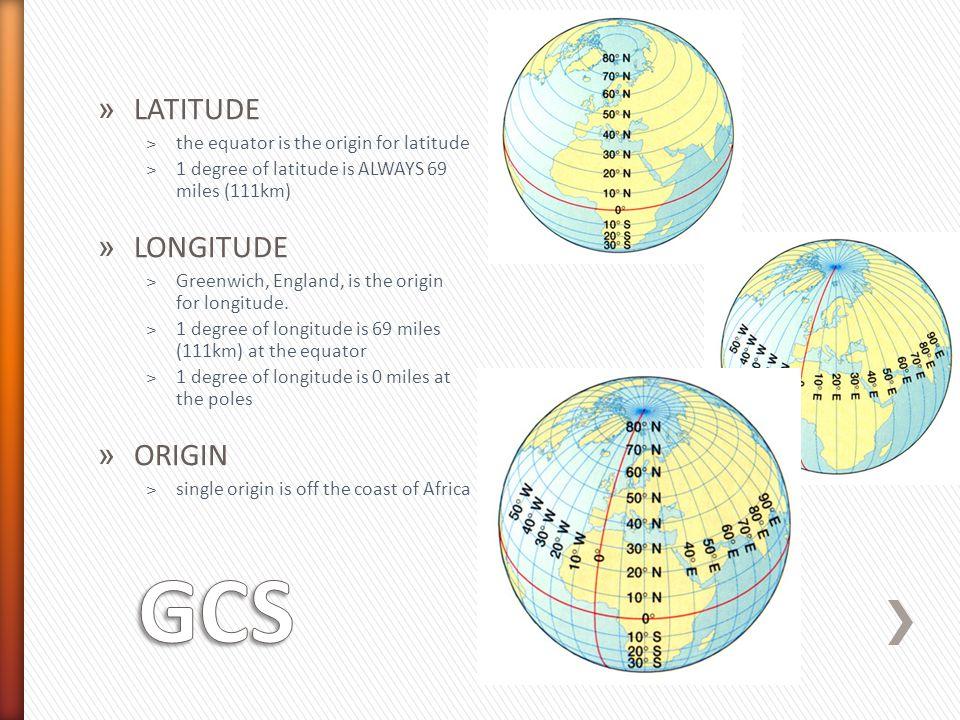 GCS LATITUDE LONGITUDE ORIGIN the equator is the origin for latitude