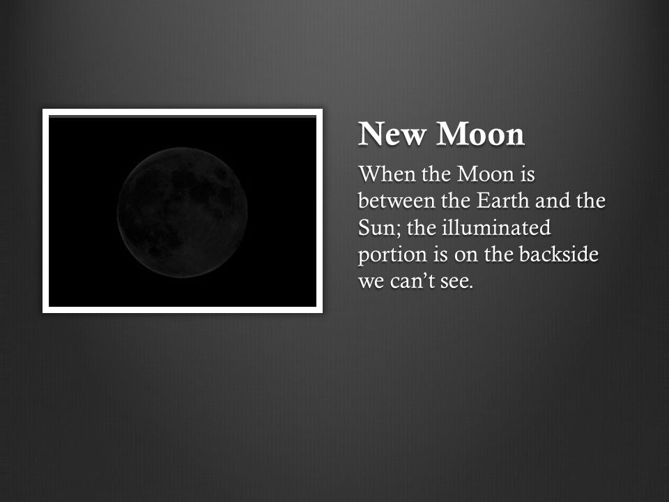 New Moon When the Moon is between the Earth and the Sun; the illuminated portion is on the backside we can't see.