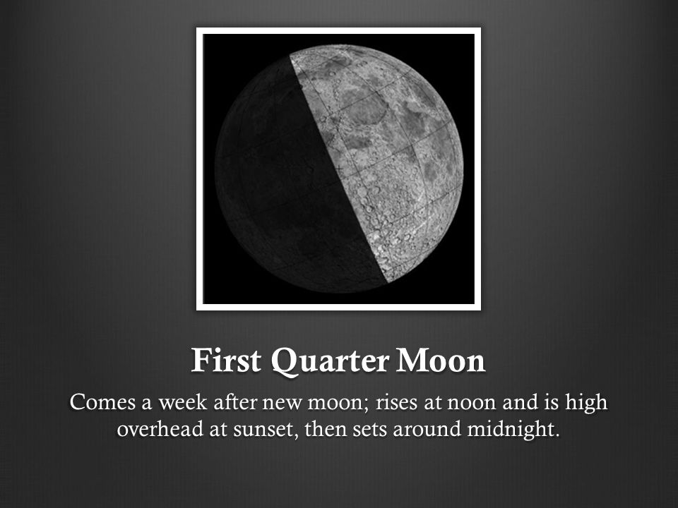 First Quarter Moon Comes a week after new moon; rises at noon and is high overhead at sunset, then sets around midnight.