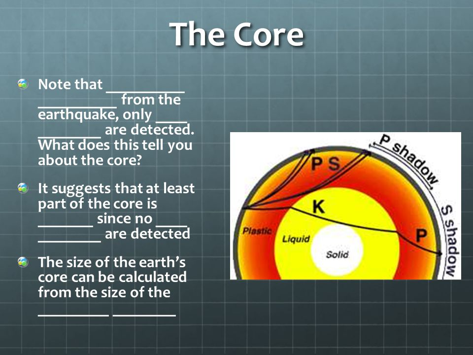 The Core Note that __________ __________ from the earthquake, only ____ ________ are detected. What does this tell you about the core