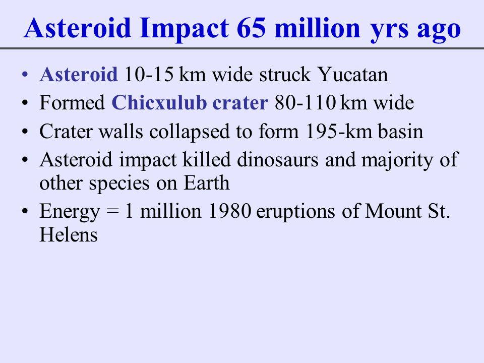 Asteroid Impact 65 million yrs ago