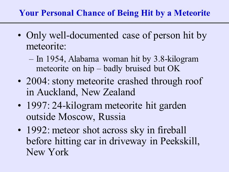 Your Personal Chance of Being Hit by a Meteorite