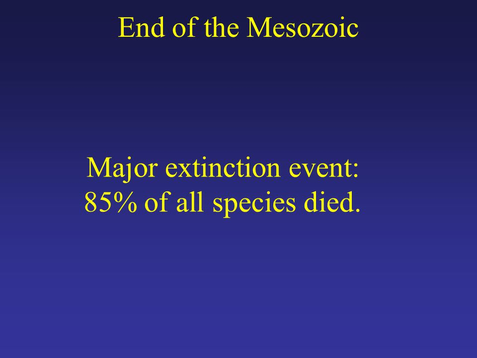 Major extinction event: 85% of all species died.