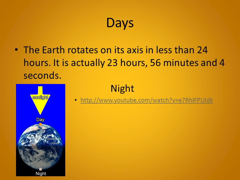 Days The Earth rotates on its axis in less than 24 hours. It is actually 23 hours, 56 minutes and 4 seconds. Night.