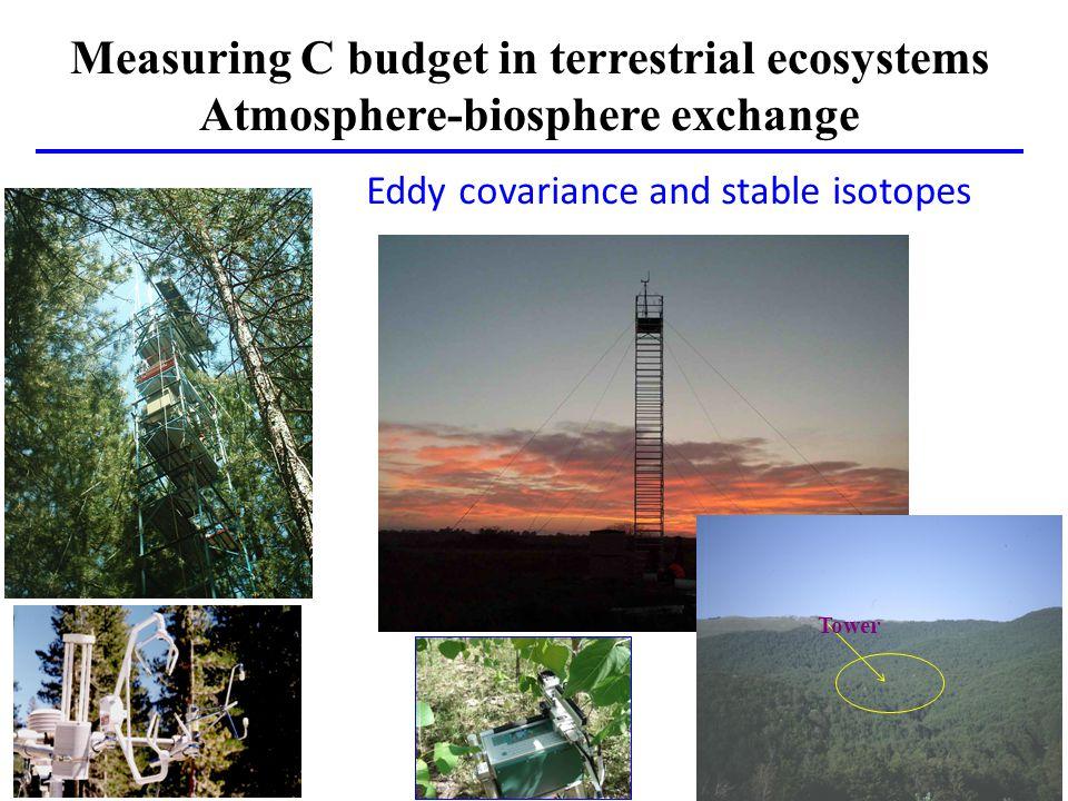 Measuring C budget in terrestrial ecosystems Atmosphere-biosphere exchange