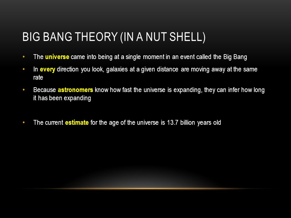 Big Bang Theory (in a nut shell)