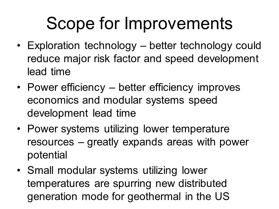 Scope for Improvements