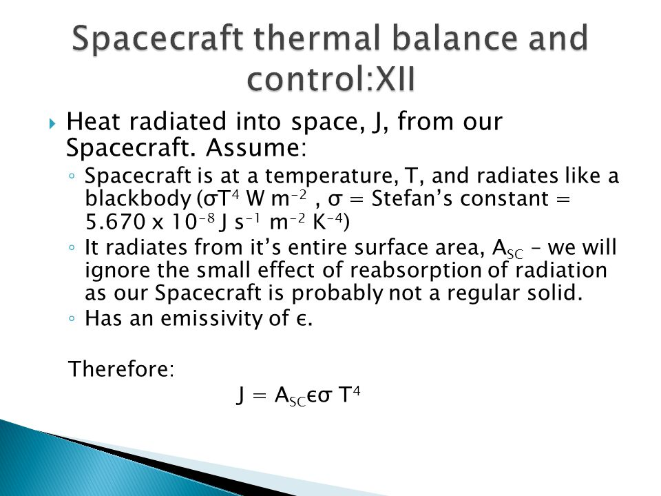 Spacecraft thermal balance and control:XII
