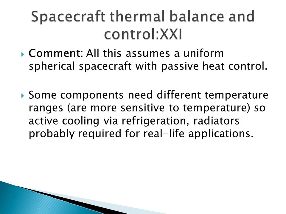 Spacecraft thermal balance and control:XXI