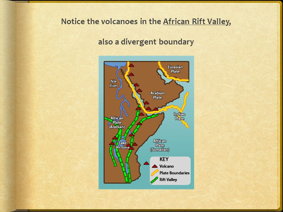 Notice the volcanoes in the African Rift Valley, also a divergent boundary