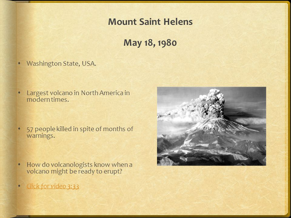 Mount Saint Helens May 18, 1980 Washington State, USA.