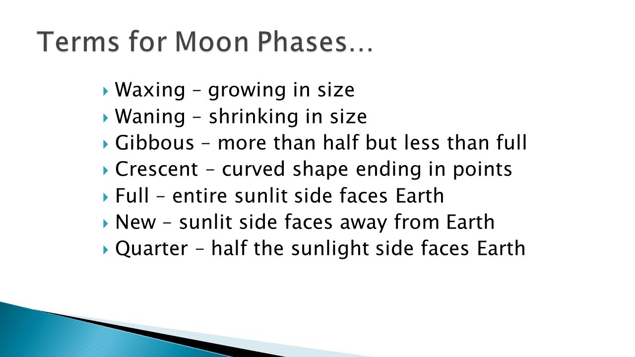 Terms for Moon Phases… Waxing – growing in size