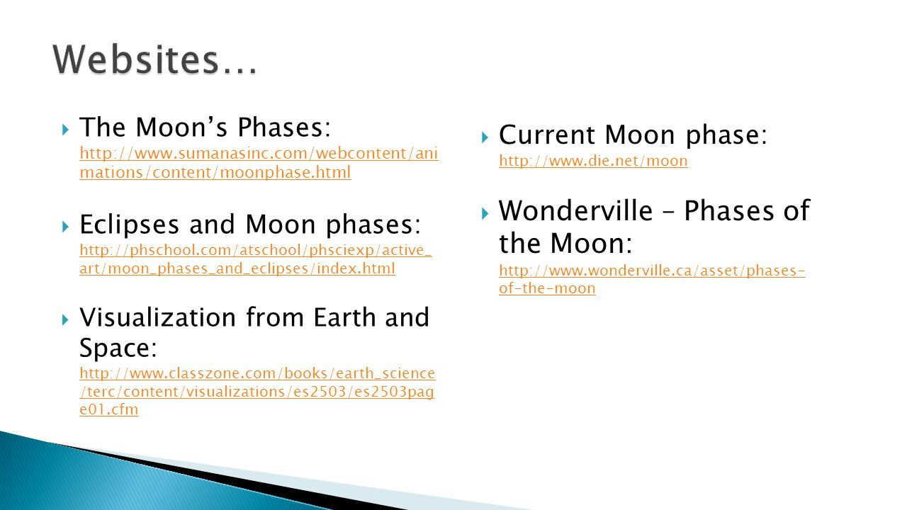 Websites… Current Moon phase: http://www.die.net/moon. Wonderville – Phases of the Moon: http://www.wonderville.ca/asset/phases- of-the-moon.