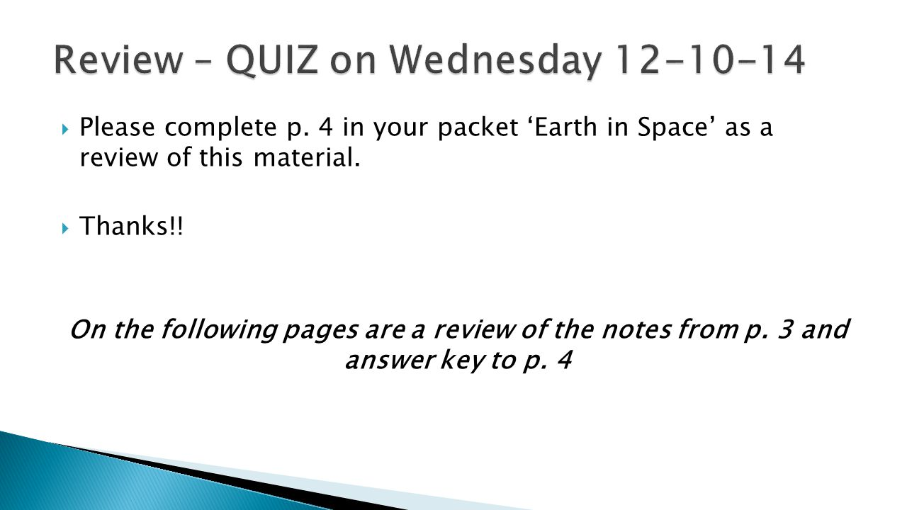 Review – QUIZ on Wednesday 12-10-14