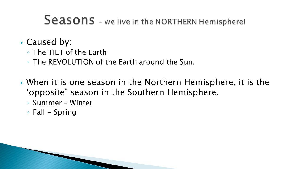 Seasons – we live in the NORTHERN Hemisphere!