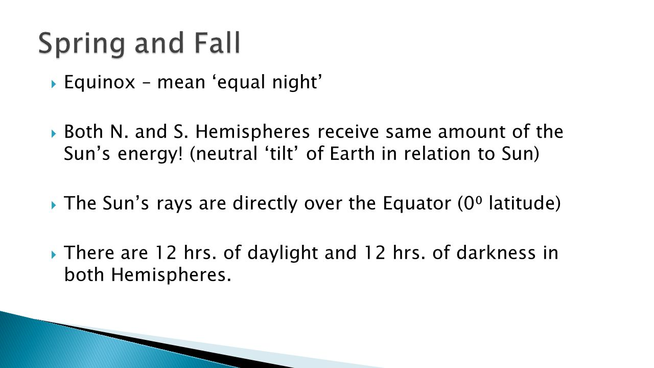 Spring and Fall Equinox – mean 'equal night'