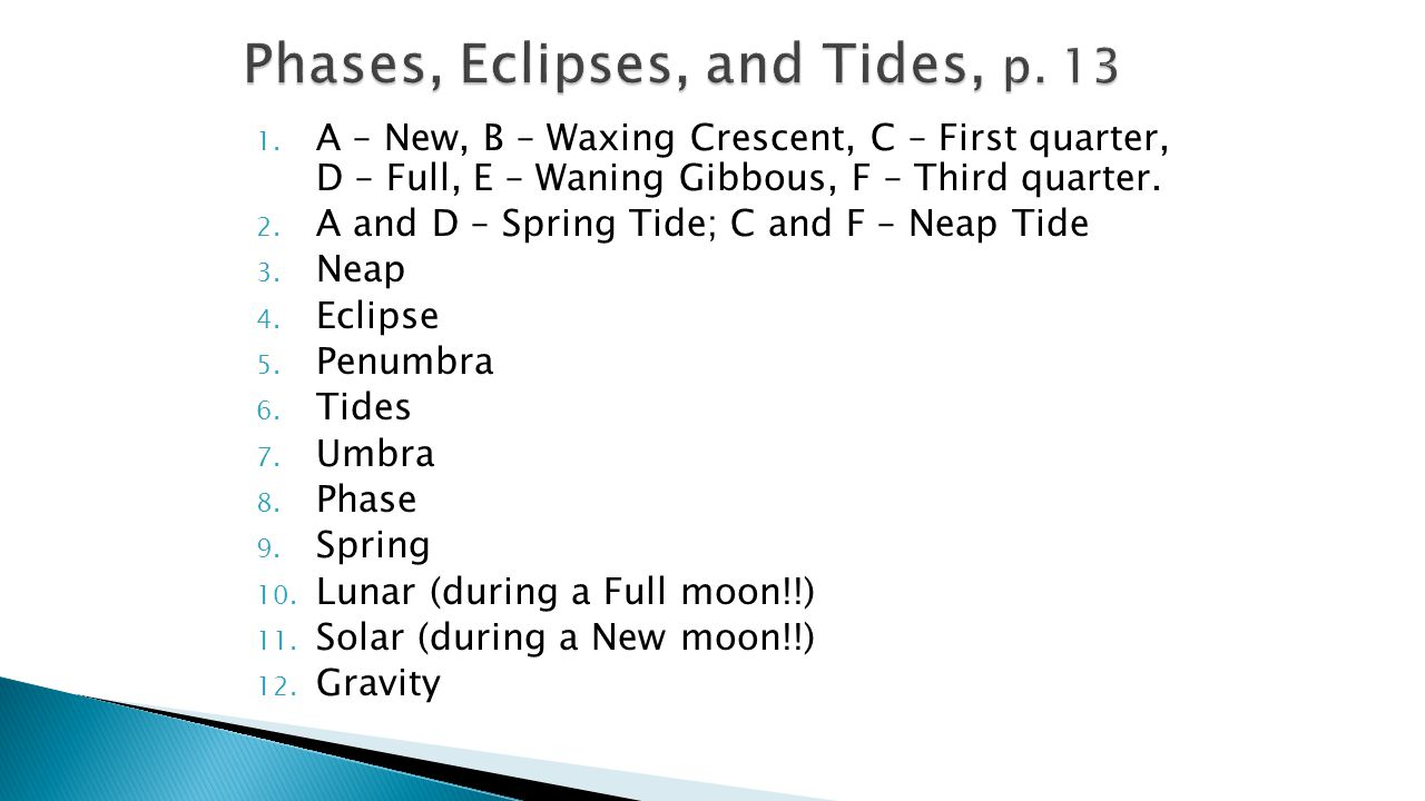 Phases, Eclipses, and Tides, p. 13