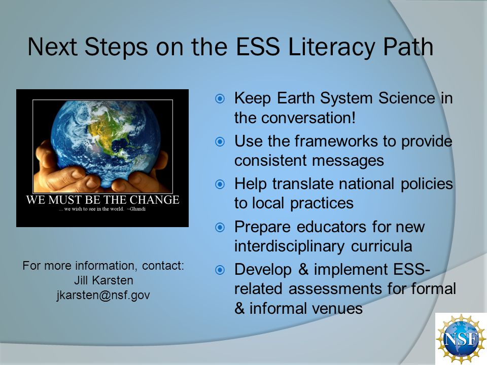 Next Steps on the ESS Literacy Path