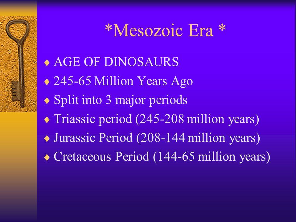 *Mesozoic Era * AGE OF DINOSAURS 245-65 Million Years Ago