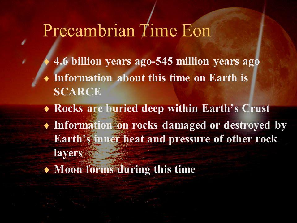 Precambrian Time Eon 4.6 billion years ago-545 million years ago