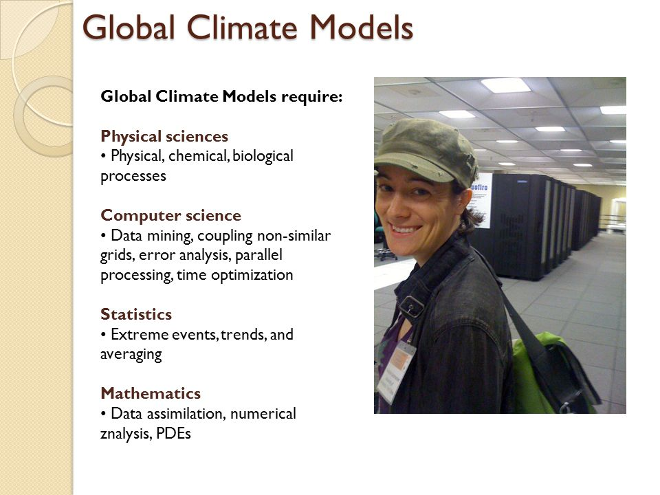 Global Climate Models Global Climate Models require: Physical sciences