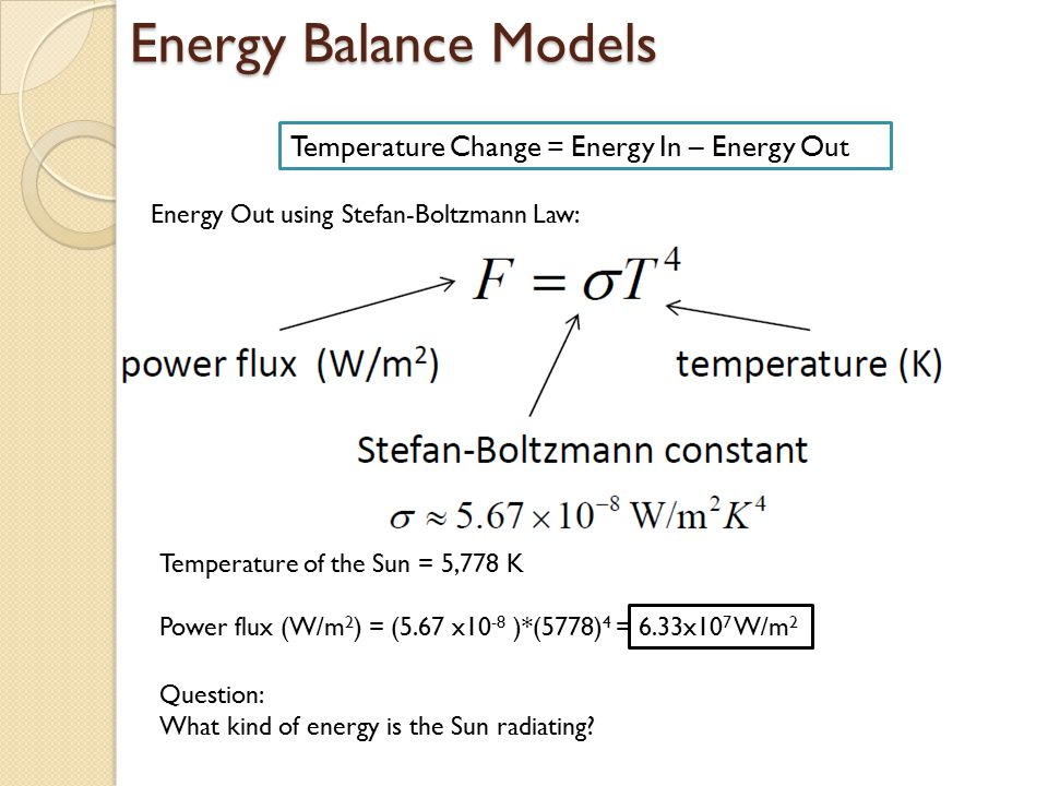 Energy Balance Models Temperature Change = Energy In – Energy Out
