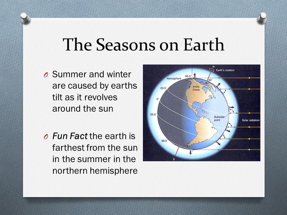 The Seasons on Earth Summer and winter are caused by earths tilt as it revolves around the sun.