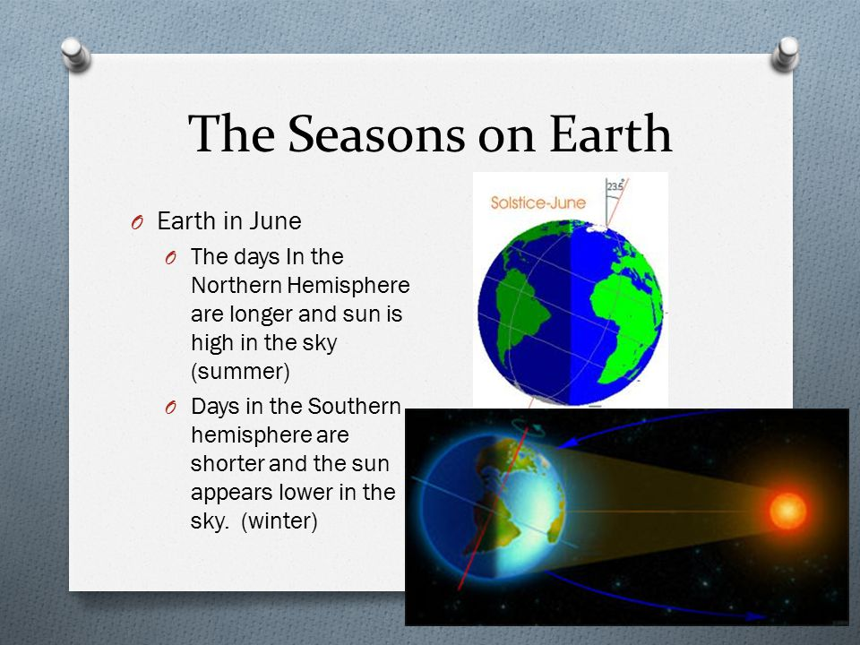 The Seasons on Earth Earth in June