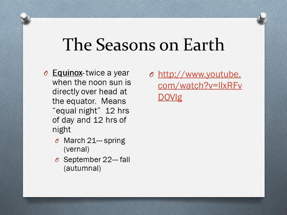 The Seasons on Earth http://www.youtube.com/watch v=lIxRFvDOVIg