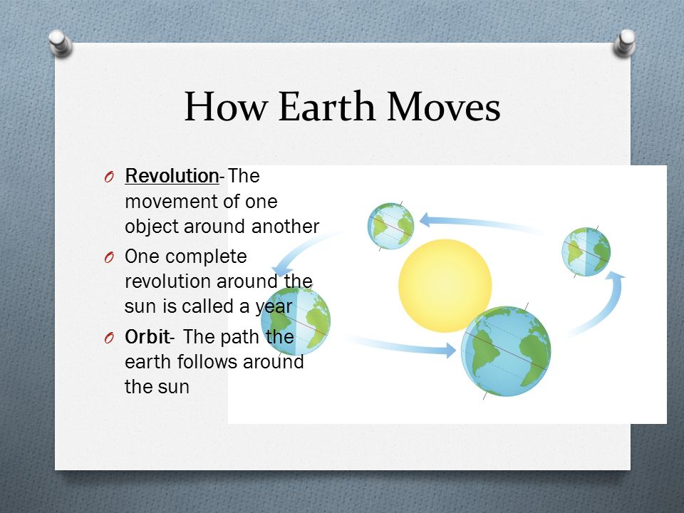 How Earth Moves Revolution- The movement of one object around another
