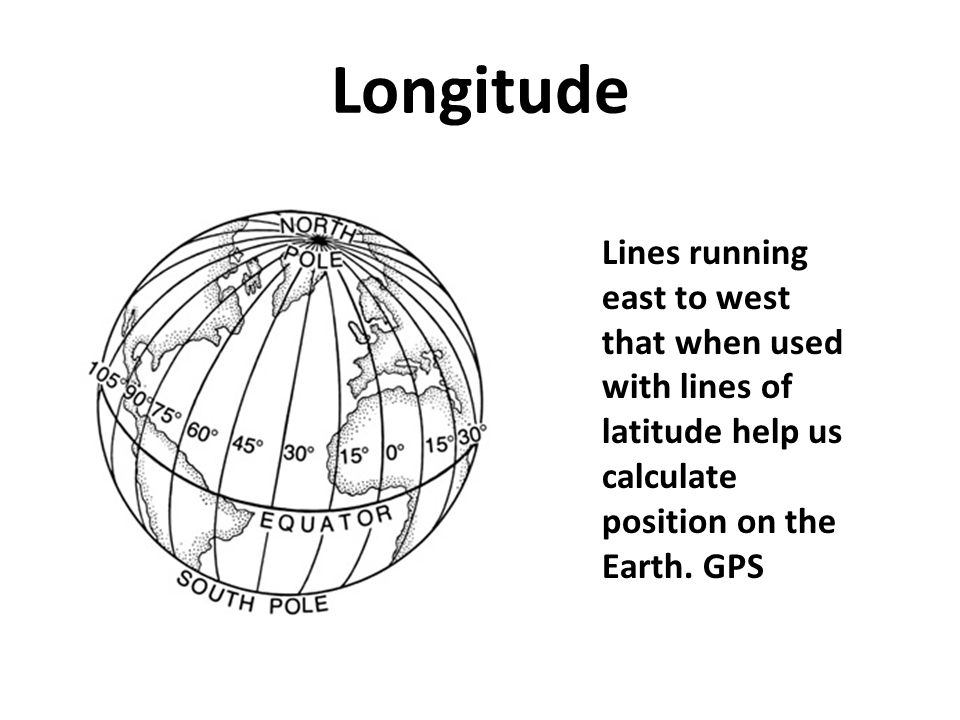 Longitude Lines running east to west that when used with lines of latitude help us calculate position on the Earth.