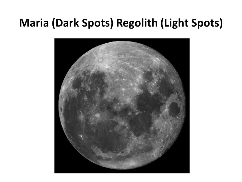 Maria (Dark Spots) Regolith (Light Spots)