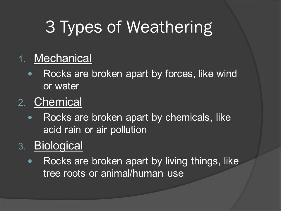 3 Types of Weathering Mechanical Chemical Biological