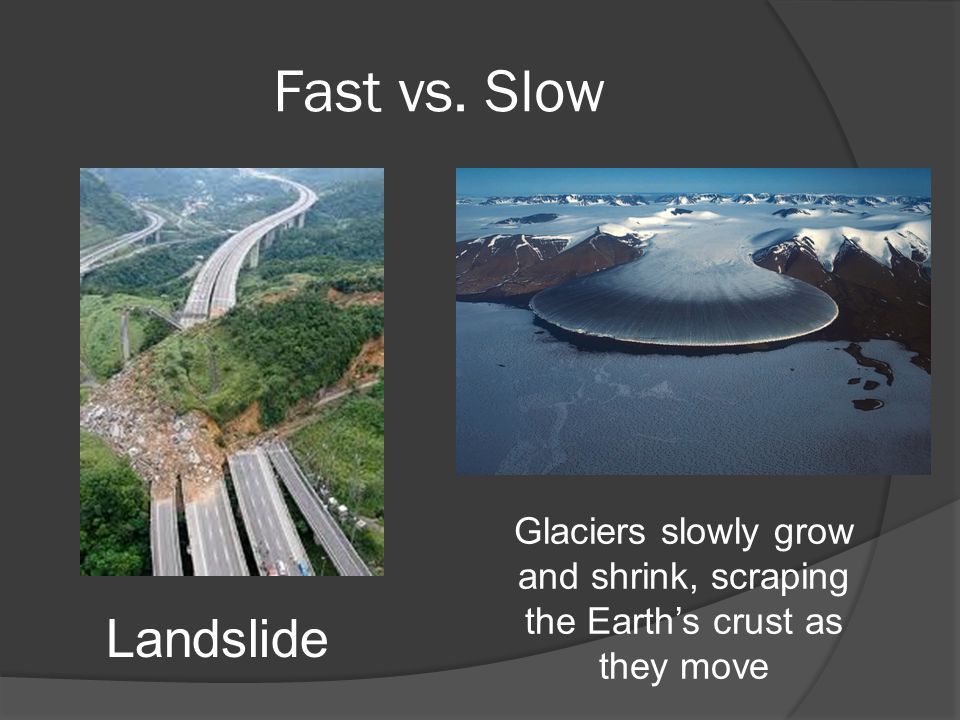 Fast vs. Slow Glaciers slowly grow and shrink, scraping the Earth's crust as they move Landslide