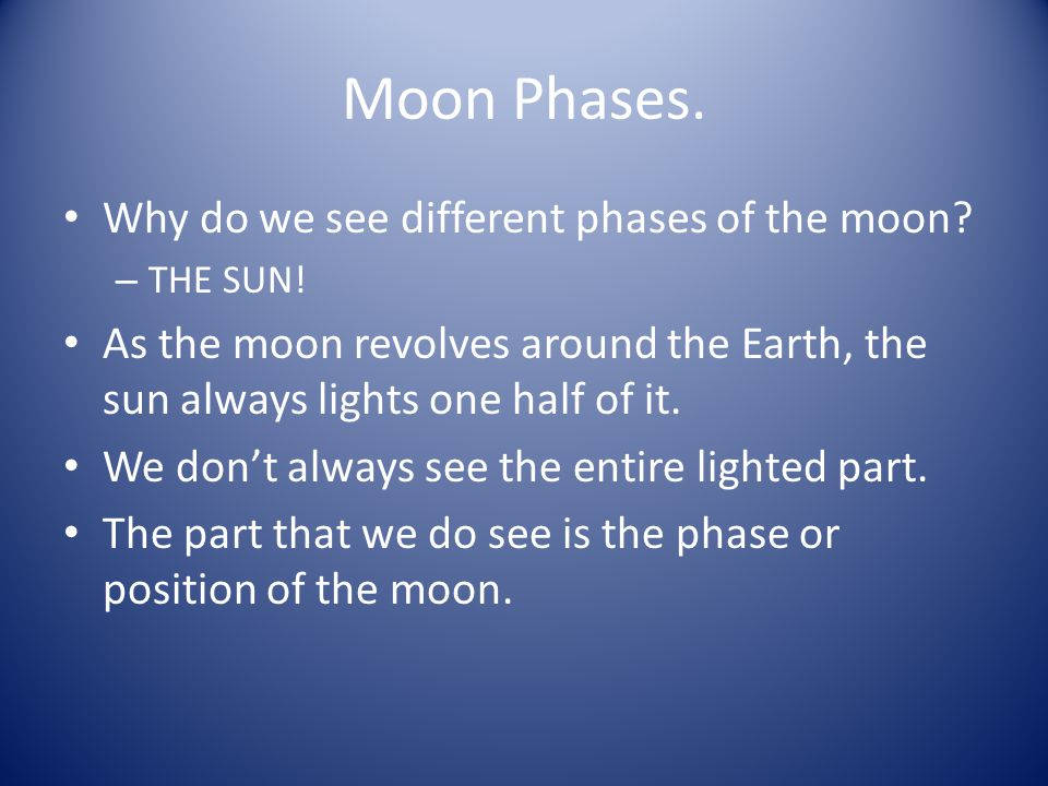 Moon Phases. Why do we see different phases of the moon