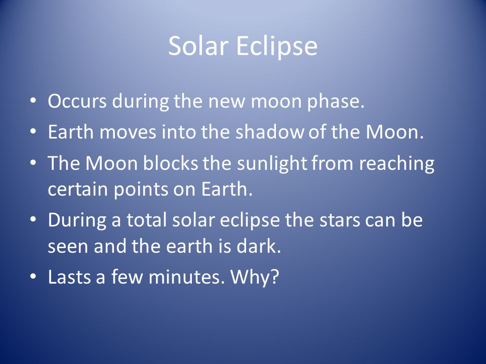 Solar Eclipse Occurs during the new moon phase.