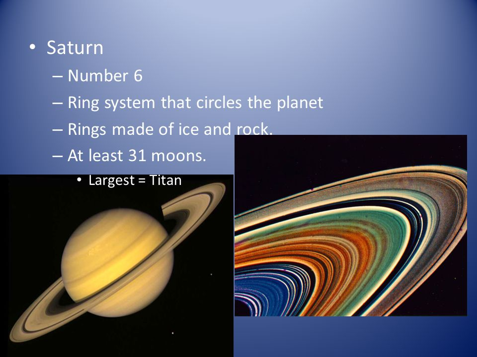 Saturn Number 6 Ring system that circles the planet