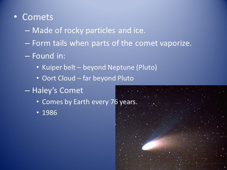 Comets Made of rocky particles and ice.