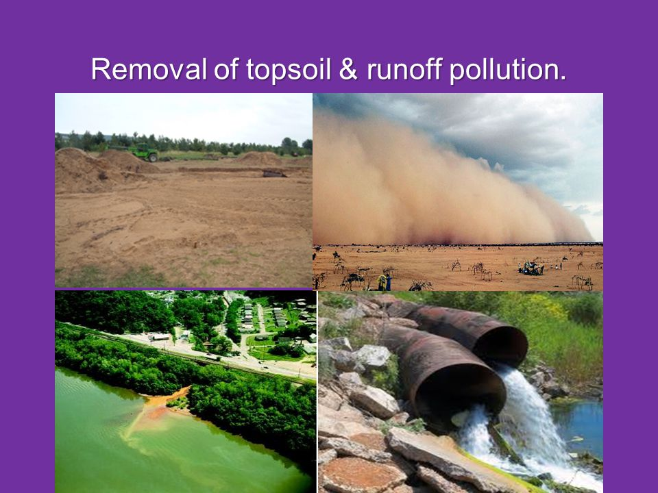 Removal of topsoil & runoff pollution.