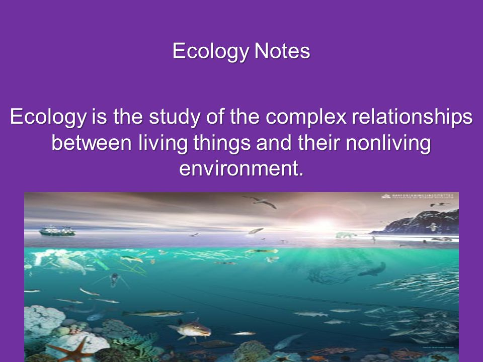 Ecology Notes Ecology is the study of the complex relationships between living things and their nonliving environment.