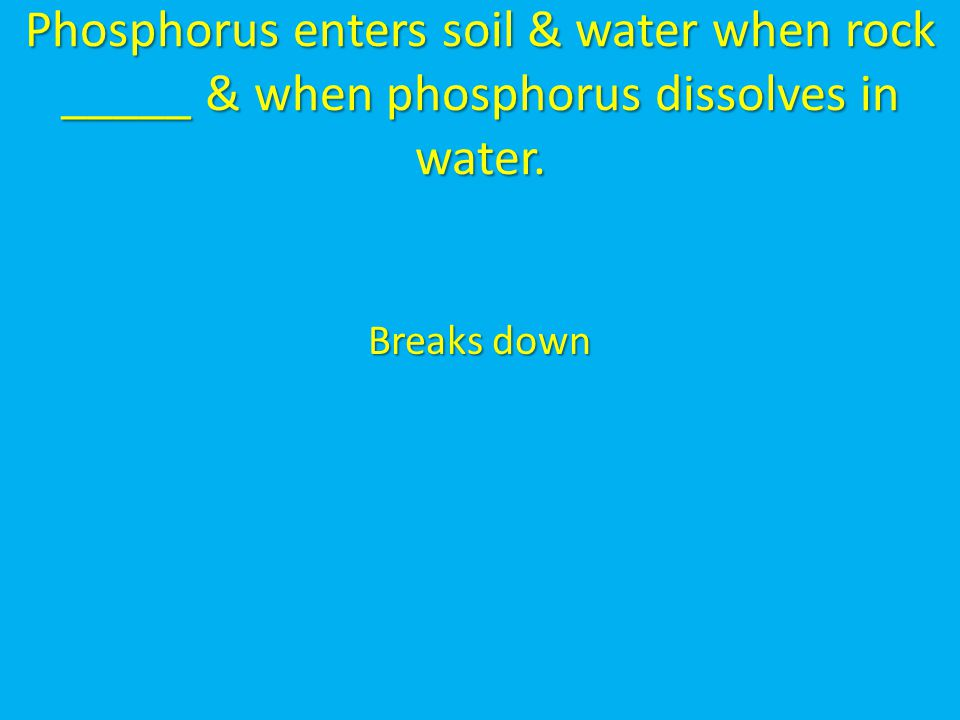 Phosphorus enters soil & water when rock _____ & when phosphorus dissolves in water.