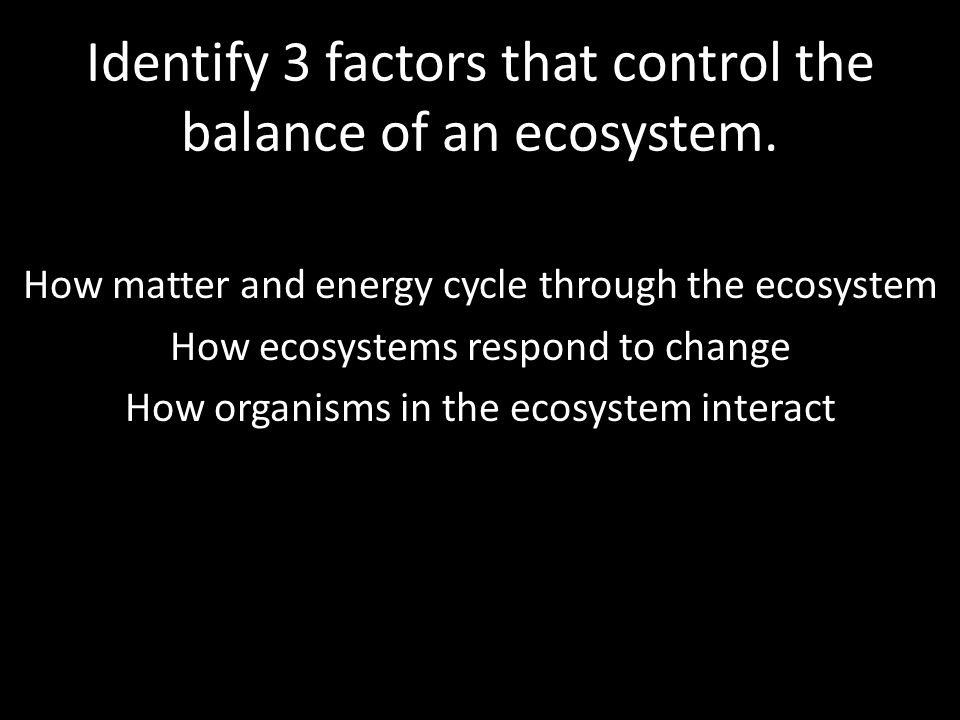 Identify 3 factors that control the balance of an ecosystem.
