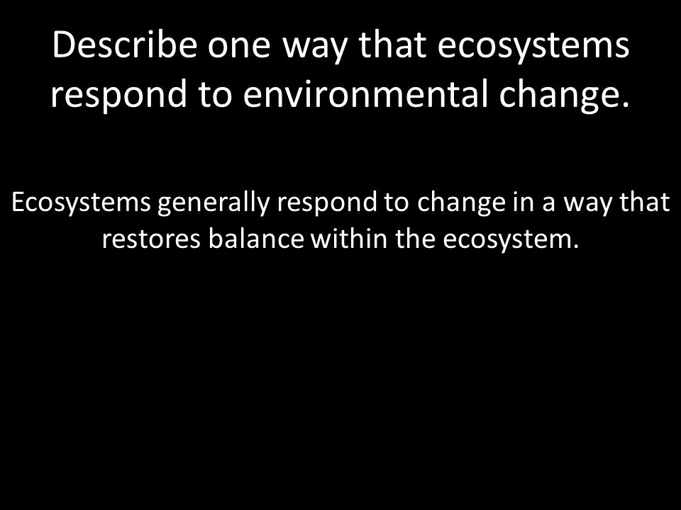 Describe one way that ecosystems respond to environmental change.