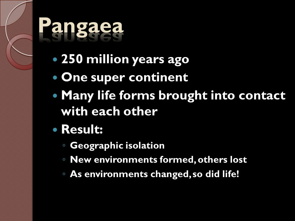 Pangaea 250 million years ago One super continent