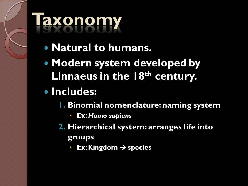 Taxonomy Natural to humans.