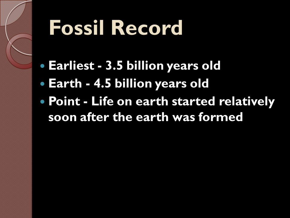 Fossil Record Earliest - 3.5 billion years old