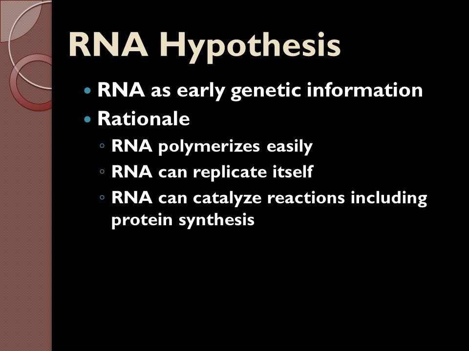 RNA Hypothesis RNA as early genetic information Rationale