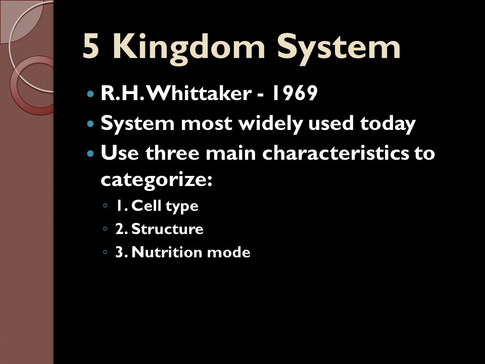 5 Kingdom System R.H. Whittaker - 1969 System most widely used today