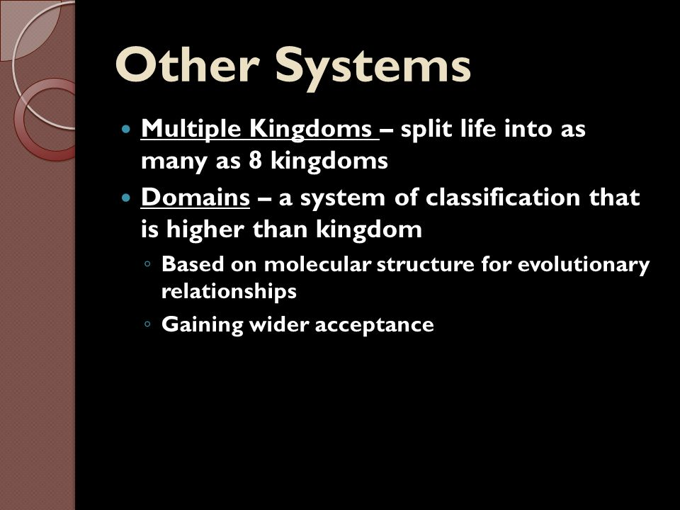 Other Systems Multiple Kingdoms – split life into as many as 8 kingdoms. Domains – a system of classification that is higher than kingdom.